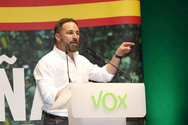 El president de Vox, Santiago Abascal, protagonitza un acte públic en el Palau de Congressos d'Albacete.