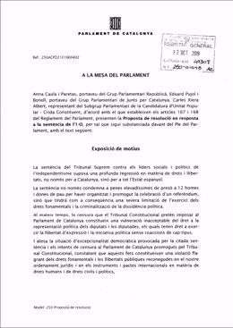 Proposta de resolució de resposta a la sentència de JxCat, ERC i CUP.