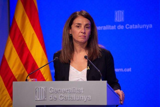 La consellera de la Presidència i portaveu del Govern, Meritxell Budó intervé en roda de premsa després del Consell Executiu de la Generalitat, a Barcelona (Espanya), a 22 d'octubre del 2019.