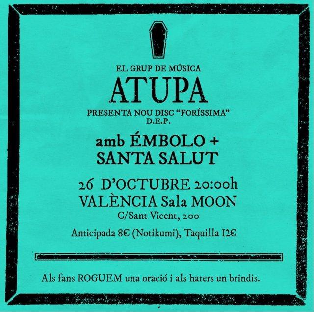 Cartel de la presentación de 'Foríssima', de Atupa, en València