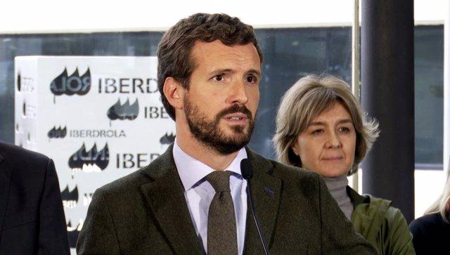 El president del PP, Pablo Casado, ofereix declaracions després de la visita per la central d'Iberdrola a Bilbao /Euskadi (Espanya), a 22 d'octubre del 2019.