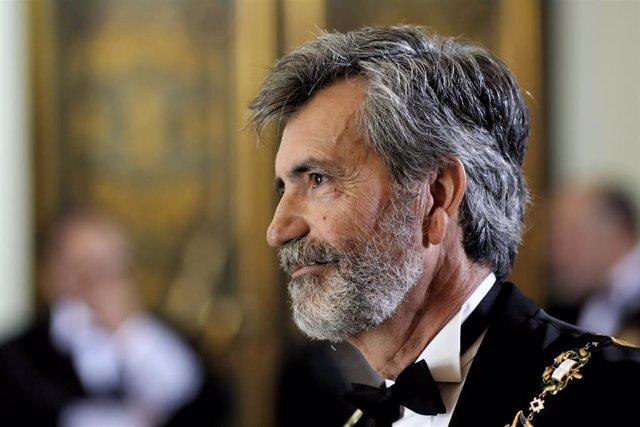 El presidente del Consejo General del Poder Judicial, Carlos Lesmes, durante la apertura del año judicial 2019/2020 en el Palacio de Justicia de Madrid.