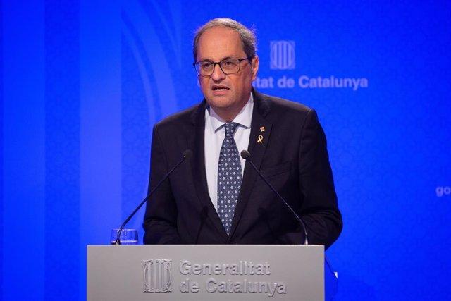El presidente Quim Torra interviene en rueda de prensa tras el Consell Executiu