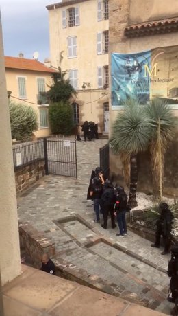 Police gathers near entrance of Musee Archeologique in Saint Raphael