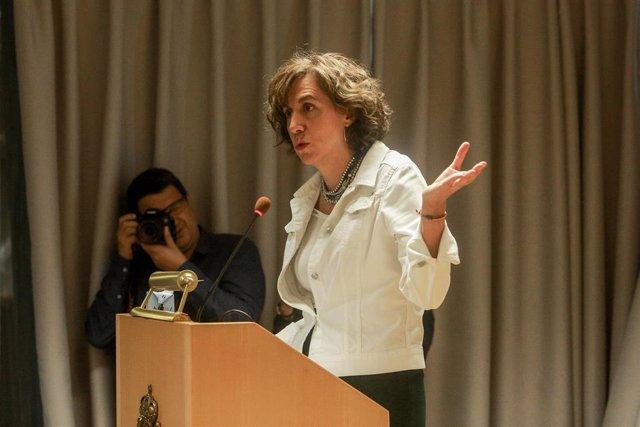 La secretaria de Estado para la España Global, Irene Lozano, responsable de la reputación e imagen exterior de España, durante la reunión, en la que convocó  a todo el Cuerpo Diplomático acreditado en España, para analizar la sentencia del Tribunal Suprem