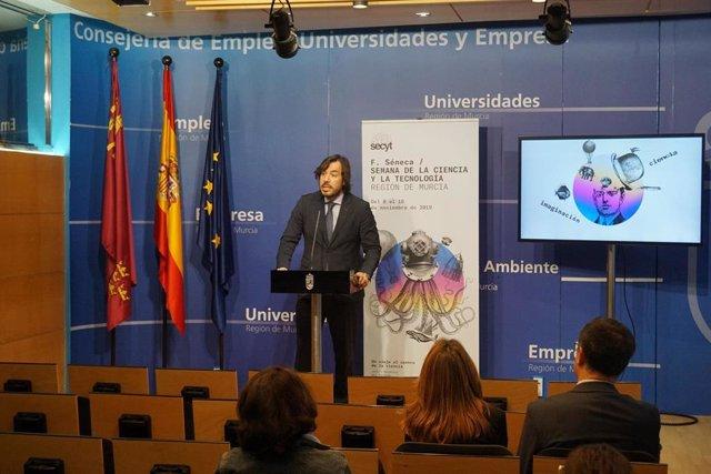 El consejero Miguel Motas presentó hoy las actividades y principales novedades de la Semana de la Ciencia y la Tecnología 2019, que se celebrará entre el 8 y el 10 de noviembre