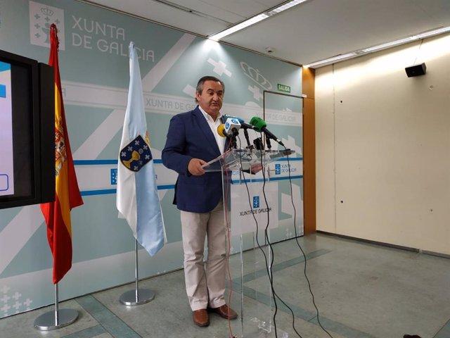 El delegado de la Xunta en Lugo, José Manuel Balseiro, en la rueda de prensa