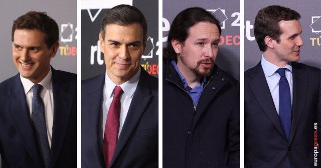 Sánchez, Casado, Iglesias y Rivera arriben al debat de RTVE.