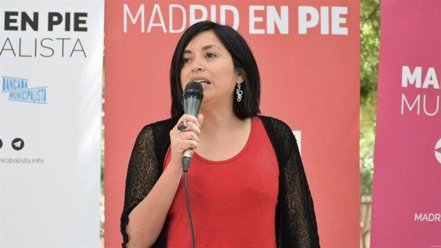Imagen de recurso de la exedil del Ayuntamiento de Madrid Rommy Arce durante una intervención en un acto de campaña.