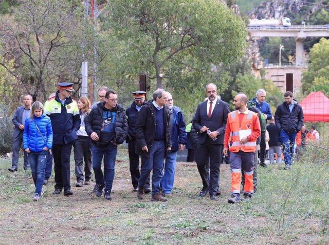 El president de la Generalitat, Quim Torra, i el conseller Miquel Buch visiten la zona afectada pel temporal de pluja a la Riba (Tarragona).