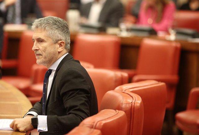 El ministre de l'Interior en funcions, Fernando Grande- Marlaska, durant la seva intervenció en la reunió de la Diputació Permanent del Congrés, Madrid (Espanya), 22 d'octubre del 2019.