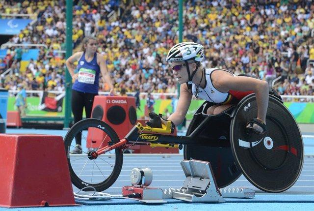 La belga Marieke Vervoort durant els Jocs Paralímpics de Rio de Janeiro del 2016.