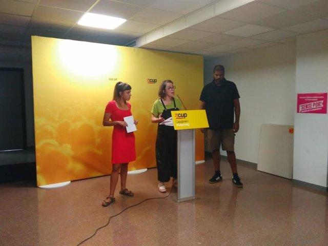 Maria Rovira, Eullia Reguant i Jordi Magriny (CUP)