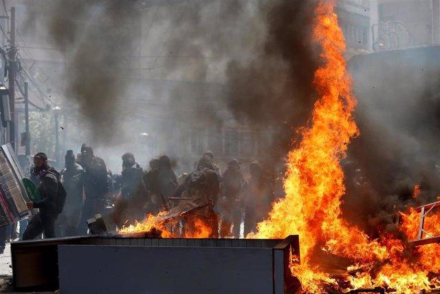 Disturbios en Valparaíso (Chile) durante las protestas contra el Gobierno