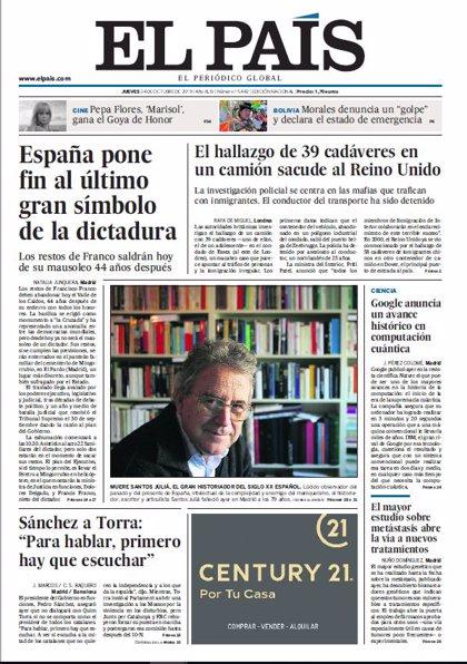 Las portadas de los periódicos del jueves 24 de octubre de 2019