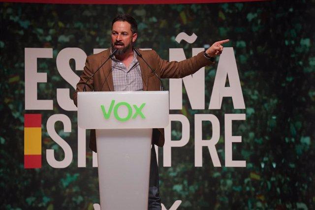 El president de Vox, Santiago Abascal, durant un acte de Vox a Bilbao, 20 d'octubre del 2019.