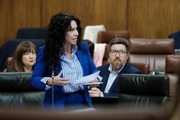 La consejera de Igualdad, Políticas Sociales y Conciliación, Rocío Ruiz, en el Pleno del Parlamento.