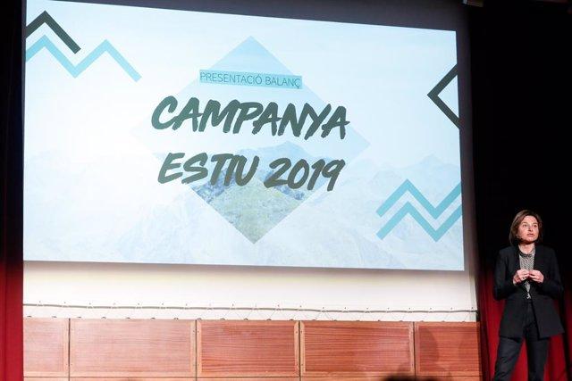 La ministra de Turisme d'Andorra, Verònica Canals, durant la presentació del balanç de la campanya d'estiu.