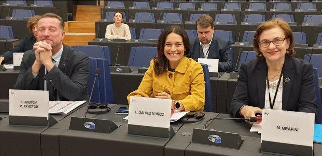 Lina Gálvez (c), en el Parlamento Europeo
