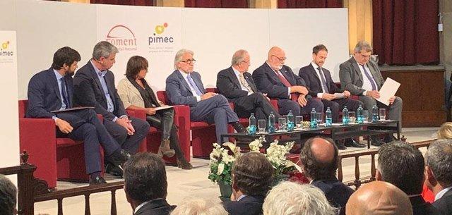 El president de Foment del Treball, Josep Sánchez Llibre, i el president de Pimec, Josep González