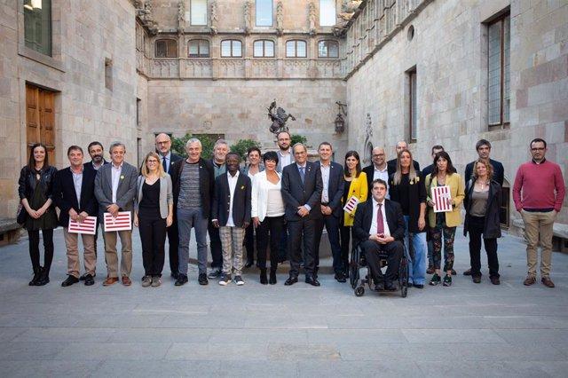 Quim Torra rep els signants de la declaració conjunta sobre la situació política de Catalunya
