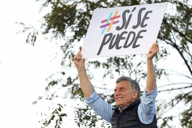 El presidente de Argentina, Mauricio Macri, en un mitin electoral en Buenos Aires