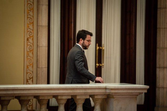 El vicepresidente de la Generalitat, Pere Aragonès tras la sesión plenaria celebrada en el Parlament tres días después de conocerse la sentencia del 'procés', en Barcelona (Cataluña, España), a 17 de octubre de 2019.