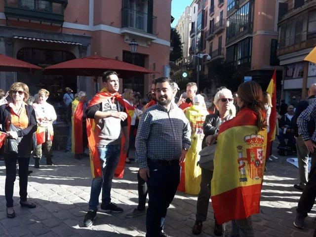 El president de Forum Baleares, Cosme Brull, entitat organitzadora de la manifestació celebrada aquest dissabte en suport a les Forces i Cossos de Seguretat de l'Estat desplegades a Catalunya.