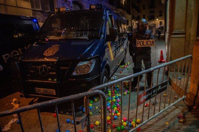 Protesta d'independentistes en la Via Laietana de Barcelona en rebuig a la sentència de el 1-O i per demanar la llibertat dels presos a 26 d'octubre de 2019