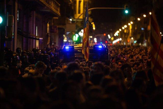 Protesta independentista a la Via Laietana de Barcelona en rebuig a la sentència de l'1-O i per demanar la llibertat dels presos a 26 d'octubre de 2019.