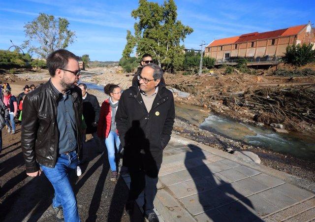 El president de la Generalitat, Quim Torra, visita les zones afectades pel temporal a la Conca de Barberà.