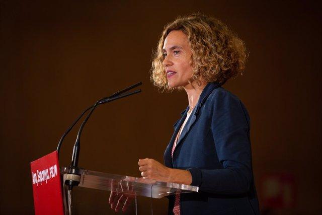 La ministra de Política Territorial i Funció Pública en funcions, Meritxell Batet, intervé en un acte polític socialista, a Barcelona (Catalunya/Espanya) a 9 d'octubre de 2019.