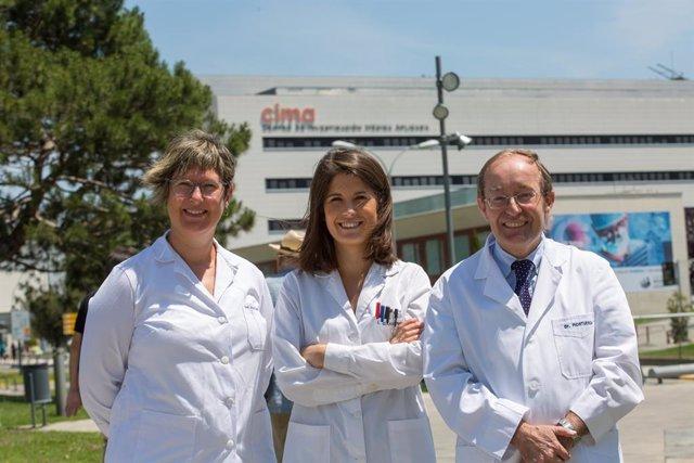 Los doctores Jackeline Agorreta, Irati Garmendia y Luis Montuenga, coordinadores de la investigación coordinada por el Cima y la Clínica Universidad de Navarra sobre cáncer de pulmón.