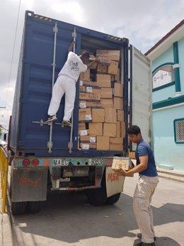 Camión con los medicamentos para la acción solidaria en Honduras.