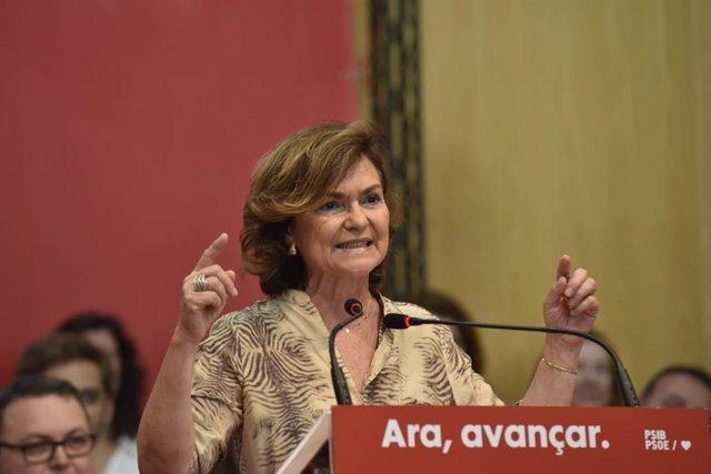 La socialista i vicepresidenta del Govern en funcions, Carmen Calvo.