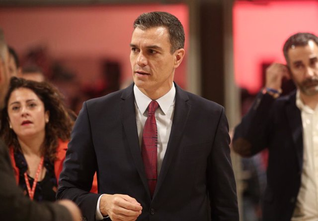 El president del Govern central en funcions i secretari general del PSOE, Pedro Sánchez,  en l'acte de presentació de la campanya per a les eleccions del 10 de novembre, amb el lema 'Ara Sí', a Madrid (Espanya), a 28 d'octubre del 2019.