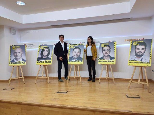 Sergi Sabrià i Marta Vilalta presenten els cartells de la campanya del 10N.