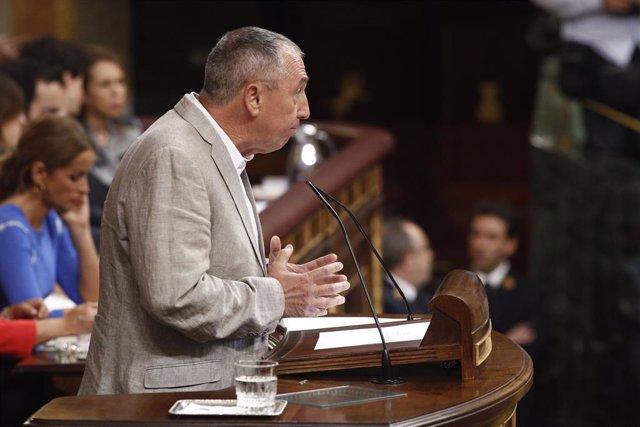 El portaveu de Compromís al Congrés dels Diputats, Joan Baldoví, durant el seu discurs previ a la segona votació per a la investidura del candidat socialista a la presidència del Govern.