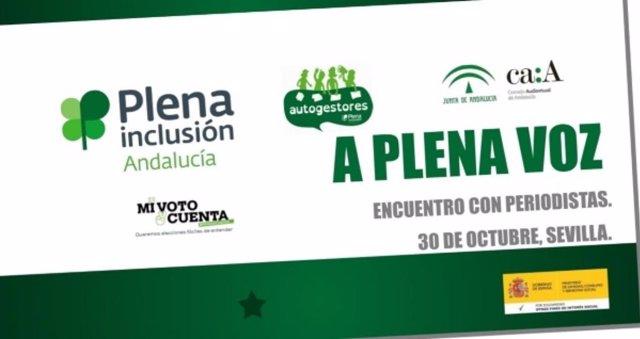 Cartel de la jornada que el Consejo Audiovisual organiza con Plena Inclusión Andalucía entre líderes con discapacidad intelectual y periodistas.