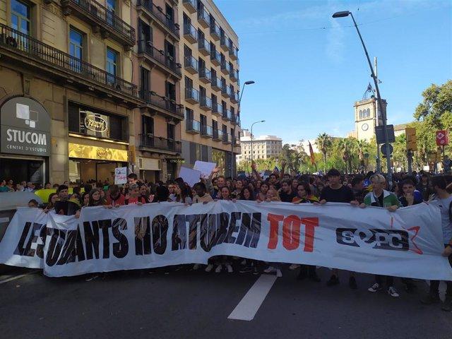 Manifestación de estudiantes en Barcelona este jueves