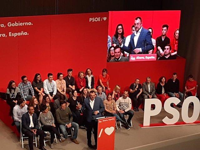 El presidente del Principado, Adrián Barbón, en un acto organizado por el PSOE en Gijón