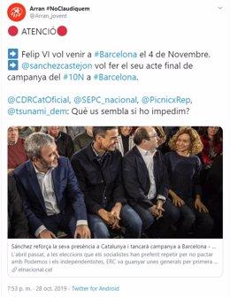 Arran llama a impedir los actos del Rey y de Pedro Sánchez durante la campaña