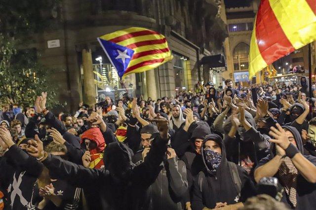 Protestes a Barcelona contra la sentència del procés
