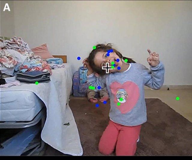 Ejemplo de los puntos de fijación en el vídeo para los niños del grupo de control