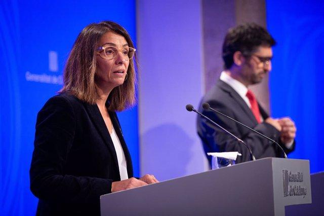 Meritxell Budó i Jordi Puigneró en roda de premsa després del Consell Executiu.