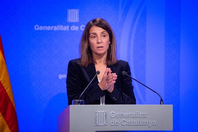 La consellera de la Presidència i portaveu del Govern, Meritxell Budó  en roda de premsa després del Consell Executiu.