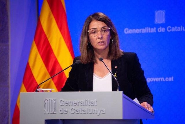 La consellera de la Presidència i portaveu del Govern, Meritxell Budó en roda de premsa després del Consell Executiu de la Generalitat, a Barcelona (Espanya), a 29 d'octubre del 2019.