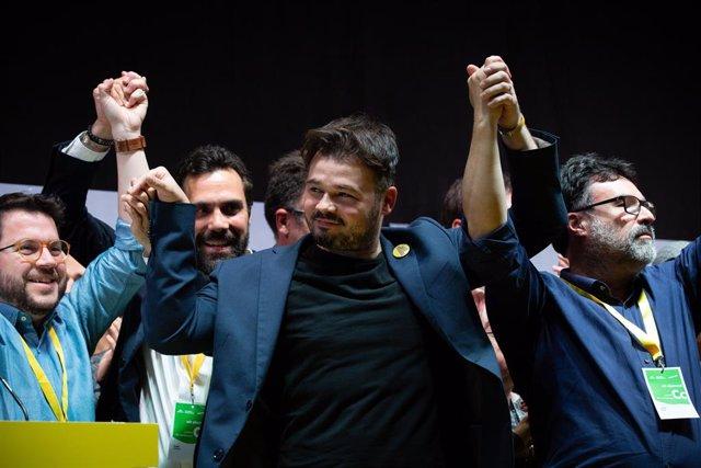 Celebració d'ERC durant la nit electoral del 28 d'abril
