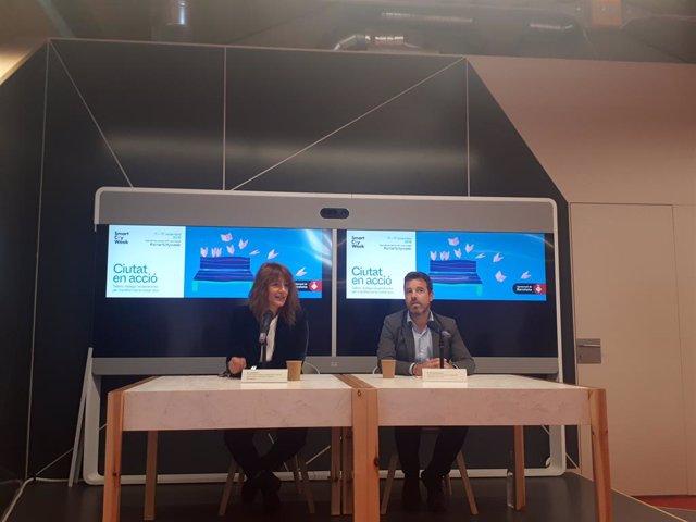 Laia Bonet i Michael Donaldson en la presentació de la segona edició de la Smart City Week.
