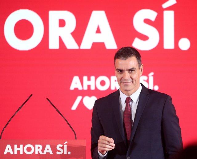 El presidente del Gobierno en funciones y secretario general del PSOE, Pedro Sánchez, durante el acto de presentación de la campaña del PSOE para las elecciones del 10 de noviembre, con el lema 'Ahora Sí', en Madrid (España), a 28 de octubre de 2019.